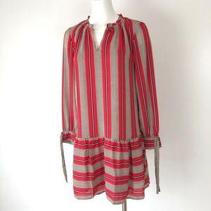 LOFT Ann Taylor | Red Stripe Peasant Dress Ruffle